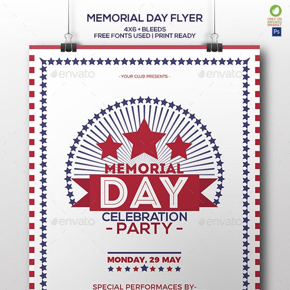 Memorial Day Celebration Party Flyer