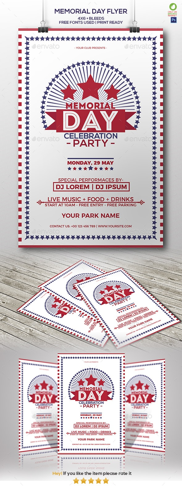 Memorial Day Celebration Party Flyer - Clubs & Parties Events