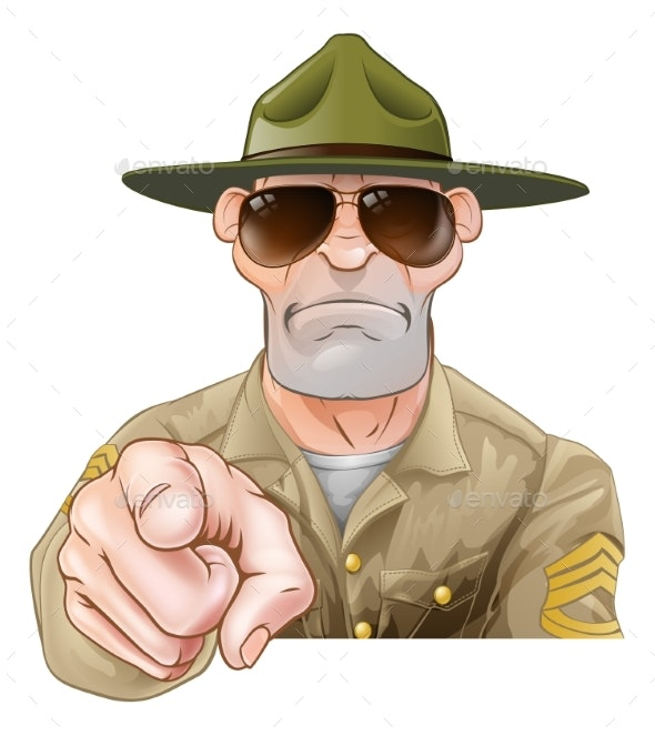 Angry Pointing Drill Sergeant - Animals Characters