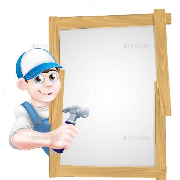 Carpenter Holding Hammer Sign