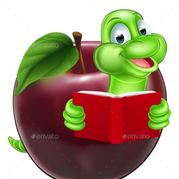 Cartoon Apple Bookworm