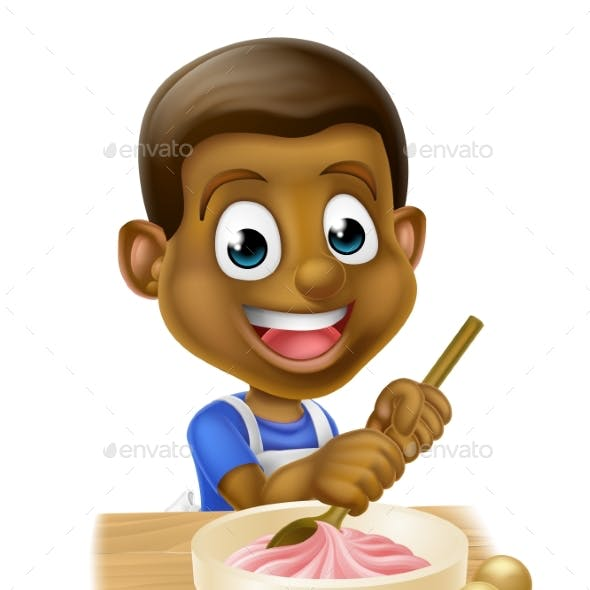 Cartoon Boy Baking Cakes