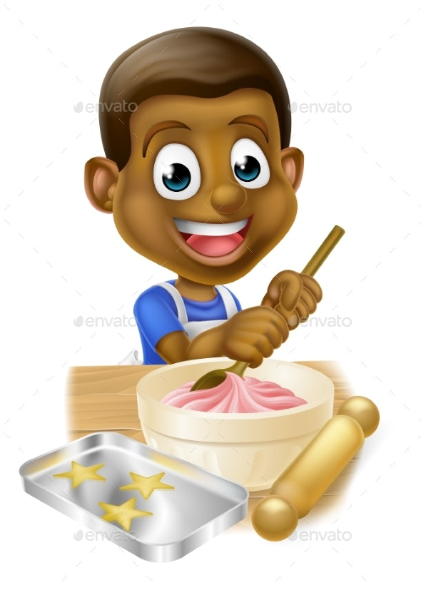 Cartoon Boy Baking Cakes - Miscellaneous Vectors