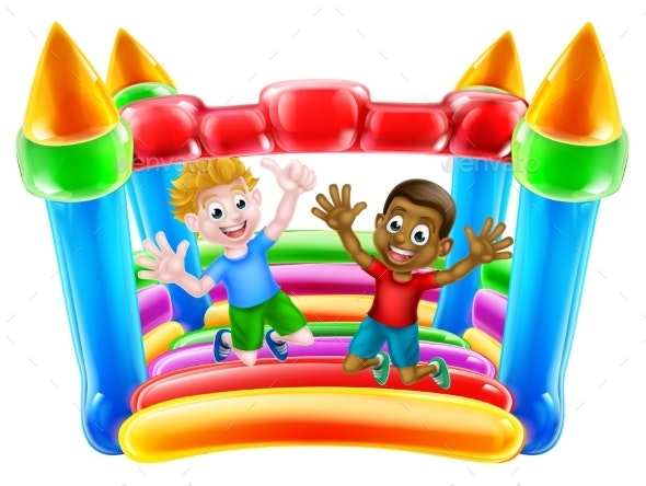Kids Jumping on Bouncy Castle - People Characters