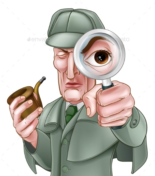 Sherlock Holmes Detective Cartoon - People Characters