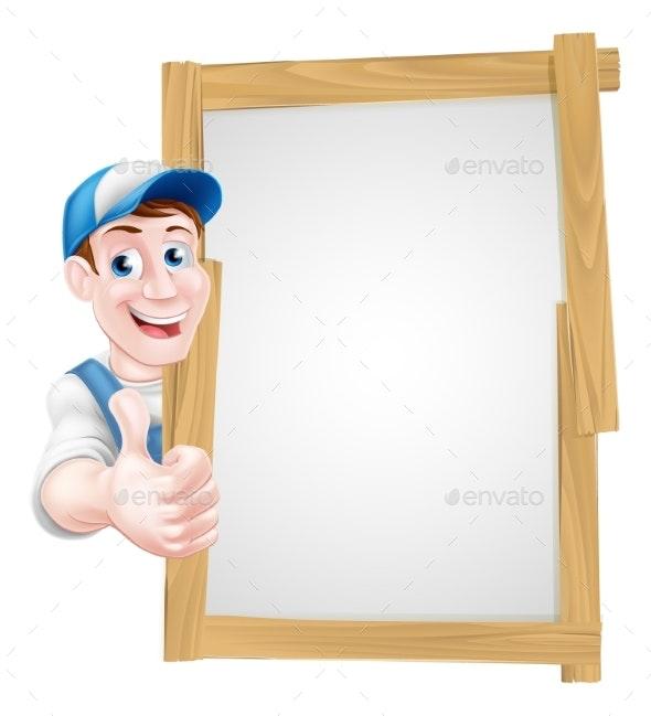 Thumbs Up Cartoon Man Sign - Miscellaneous Vectors