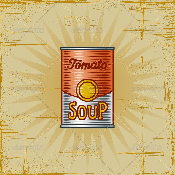 Retro Tomato Soup Can - Food Objects