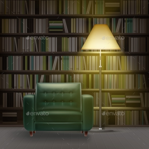 Home Library Interior - Objects Vectors