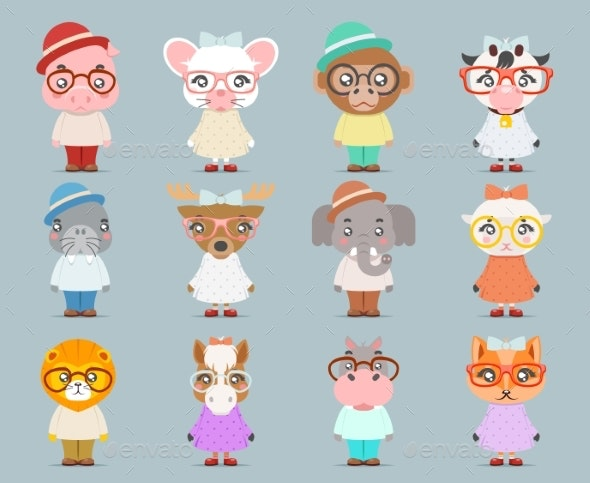 Geek Hipster Animal Boy Girl Cubs Mascot - Animals Characters