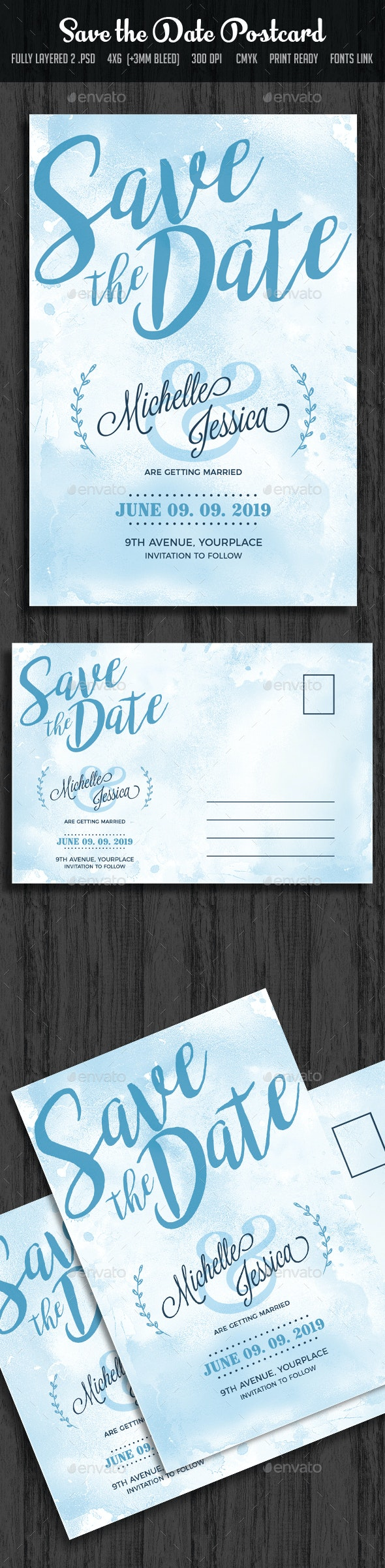 Save the Date Postcard - Cards & Invites Print Templates
