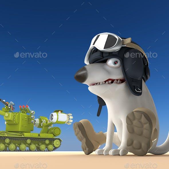 Cartoon Dog Tanker 3D Illustration