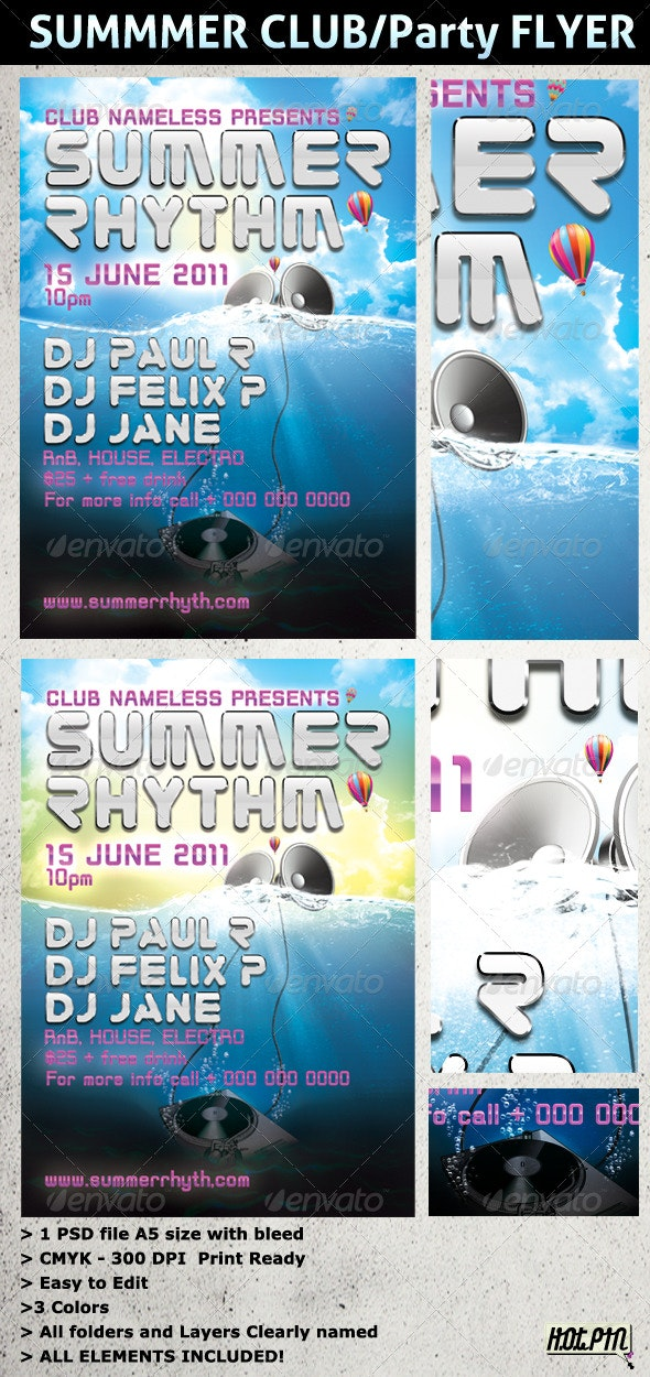 SUMMER PARTY and CLUB Flyer Template - Clubs & Parties Events