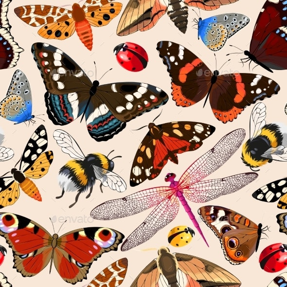 Insects Seamless Pattern - Backgrounds Decorative