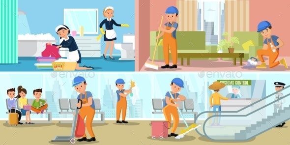 Cleaning Company Service Horizontal Banners - People Characters