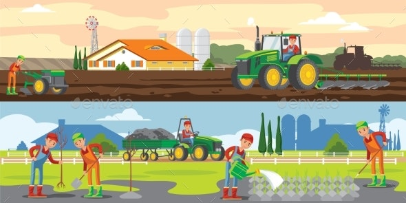 Farming And Agriculture Horizontal Banners - Backgrounds Decorative