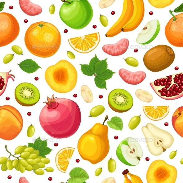 Fresh Natural Food Seamless Pattern - Food Objects