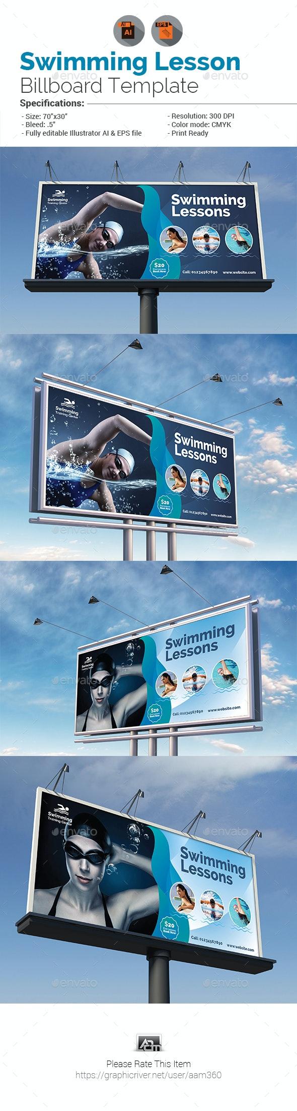 Swimming Lessons Billboard - Signage Print Templates