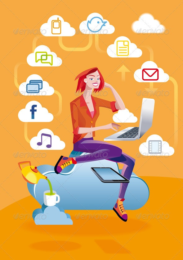 Cloud Computing Woman With Laptop - Web Technology