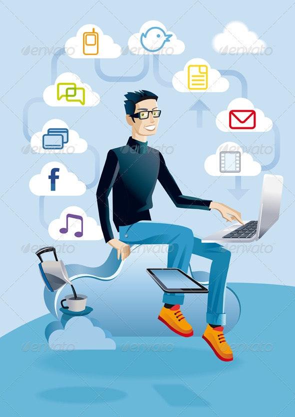 Cloud Computing Man With Laptop - Web Technology