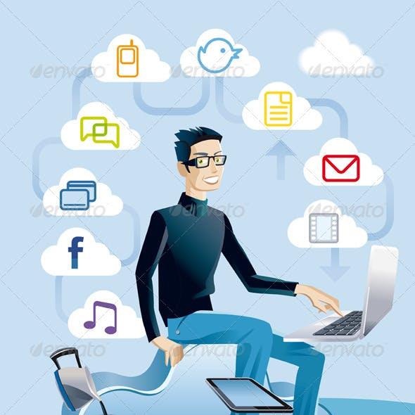 Cloud Computing Man With Laptop