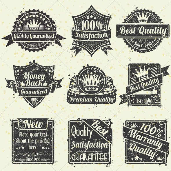 Quality and Guarantee Labels - Decorative Symbols Decorative