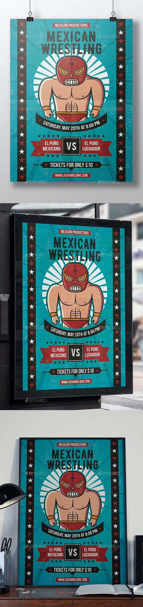 Lucha Libre Flyer Template - Sports Events