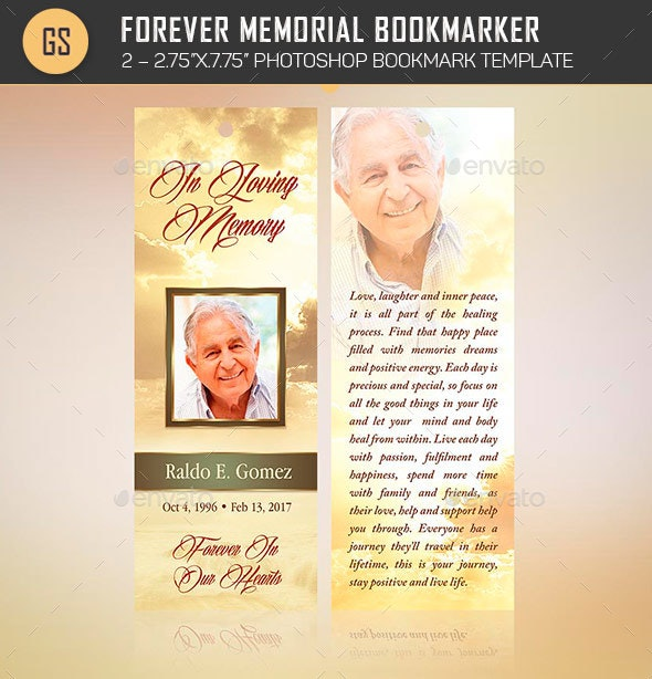 Forever Memorial Bookmark Template - Stationery Print Templates