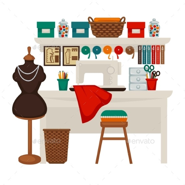Atelier Studio Workplace Colorful Vector Flat - Man-made Objects Objects