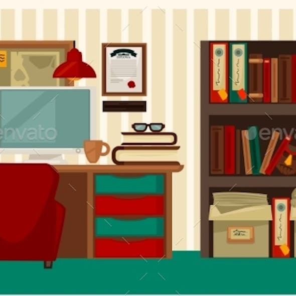 Comfortable Workplace in House Colorful Vector
