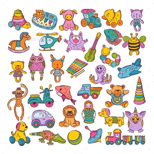 Color Icons of Children Toys. Hand Drawn Vector