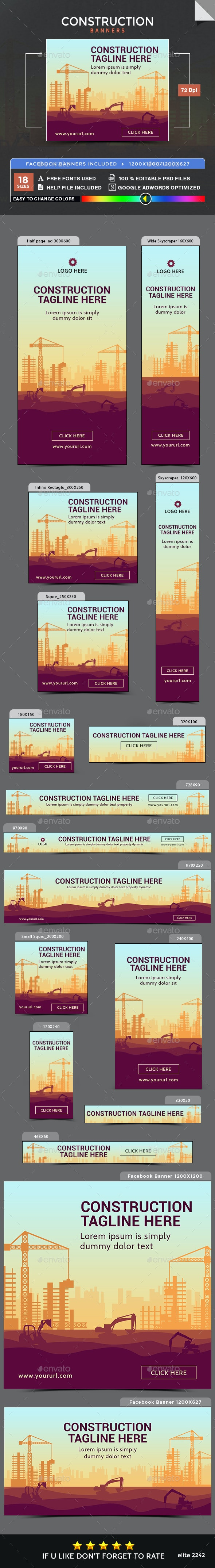 Construction Banners - Image Included - Banners & Ads Web Elements