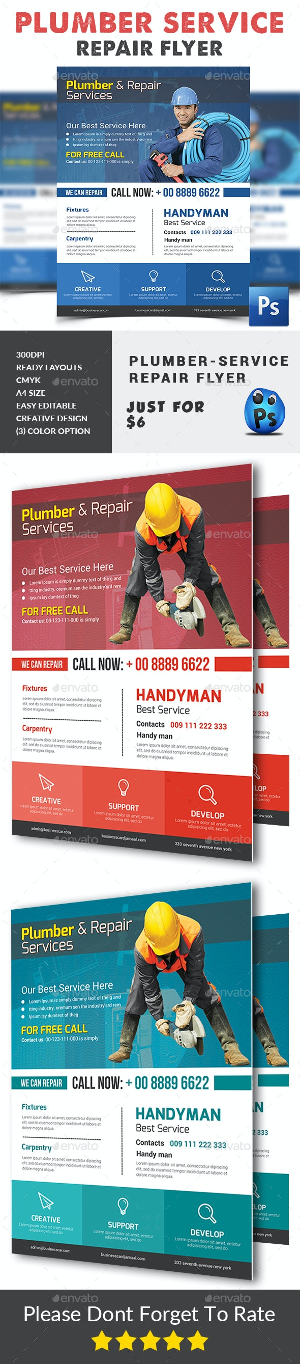 Plumber Service Flyer Print Templates - Corporate Flyers
