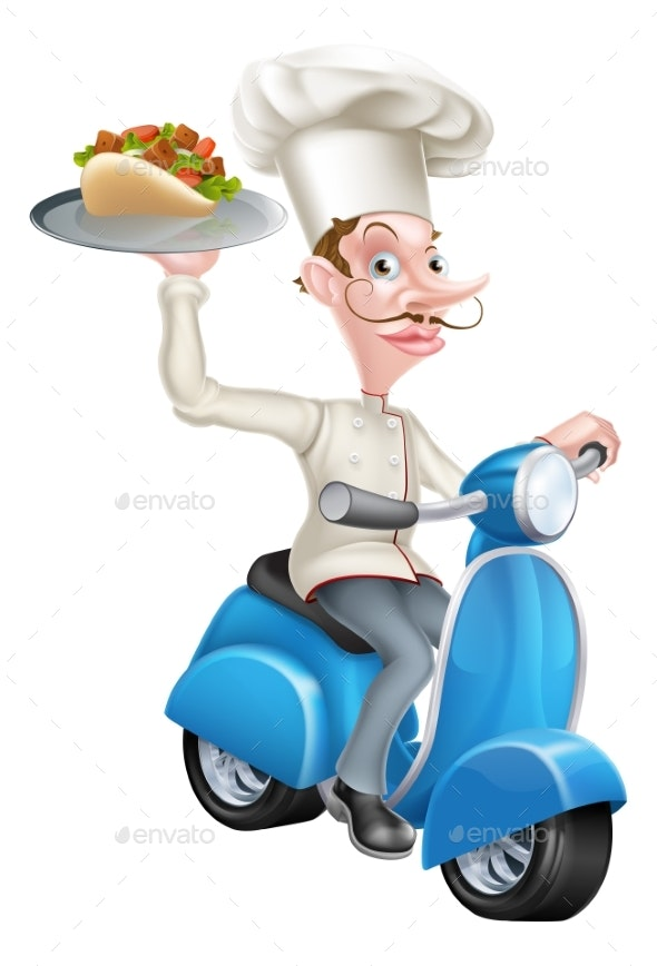 Chef on Scooter Moped Delivering Gyro Kebab - Food Objects