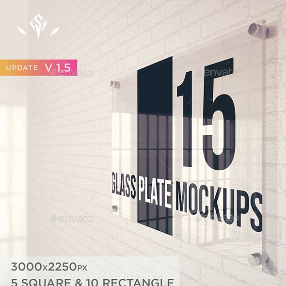 15 Glass Plate Mockups