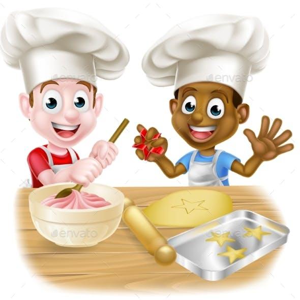 Cartoon Kid Chefs Cooking