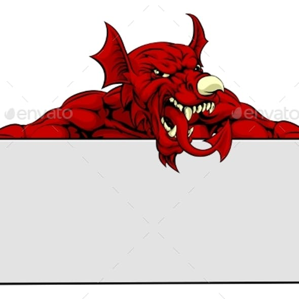 Welsh Dragon Sports Mascot Sign