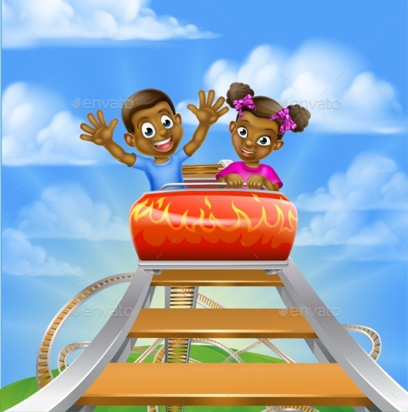 Roller Coaster Fair Theme Park - People Characters