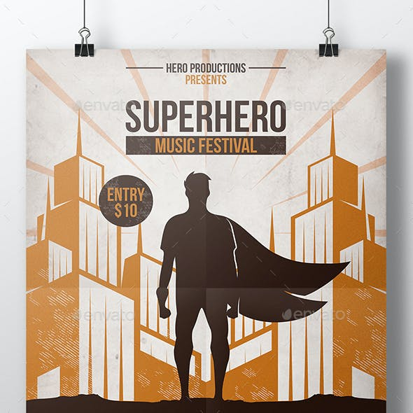Superhero Party Flyer Template