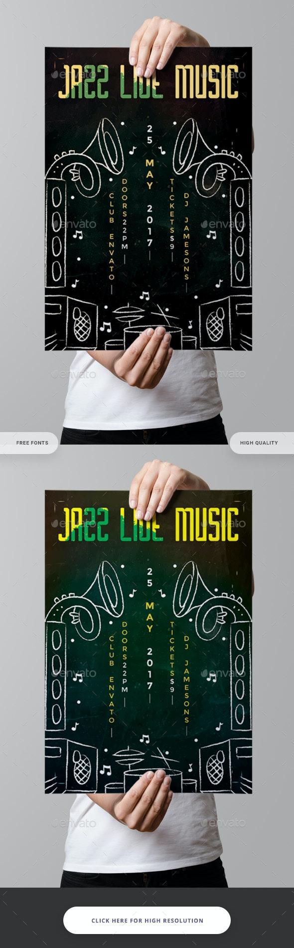 Jazz Live Music Concert Flyer - Clubs & Parties Events