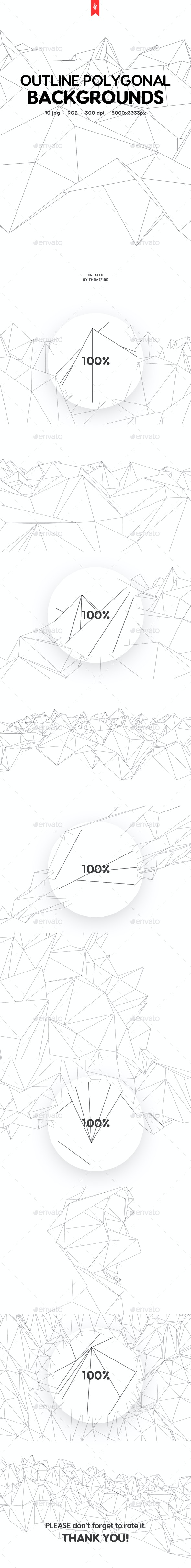 Outline Geometric Polygonal Backgrounds - Abstract Backgrounds