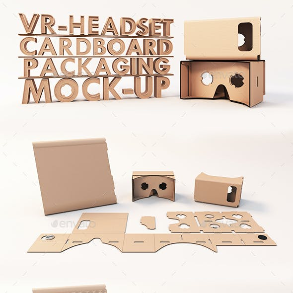 VR Headset Google Cardboard Packaging Mock-ups