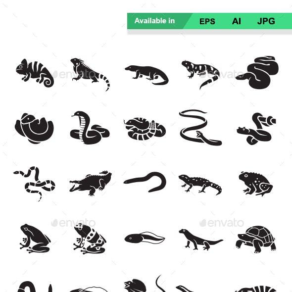Reptiles & Amphibians Vector Icons