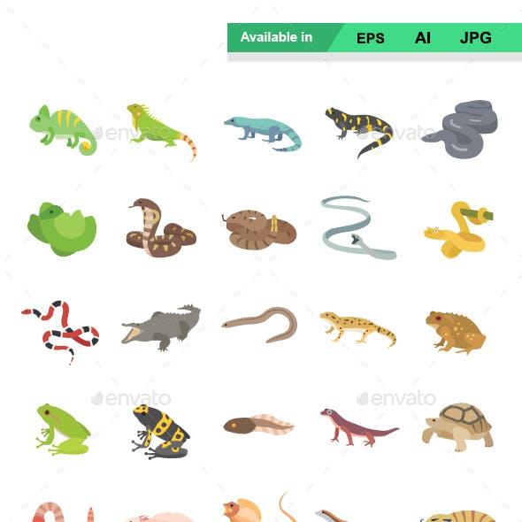 Reptiles & Amphibians Color Vector Icons