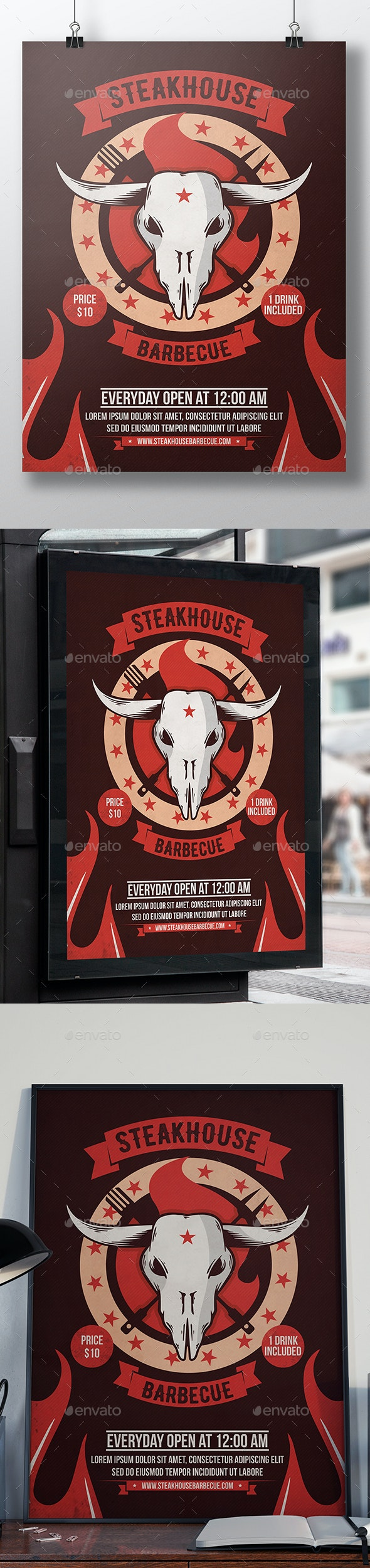 Steakhouse Bbq Poster Template - Events Flyers