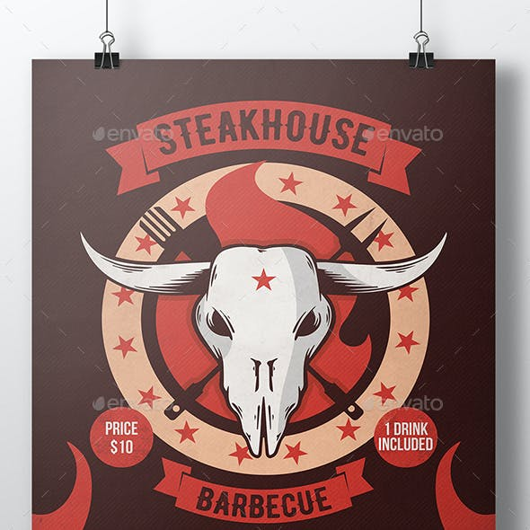 Steakhouse Bbq Poster Template