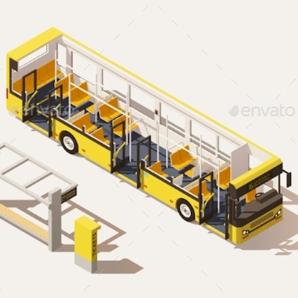 Isometric Low Poly Bus Cross-Section