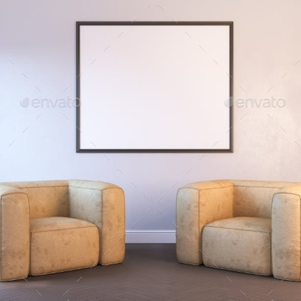 3d Render of a Interior with a Poster