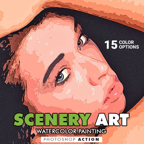 Scenery Art - Watercolor Painting Photoshop Action