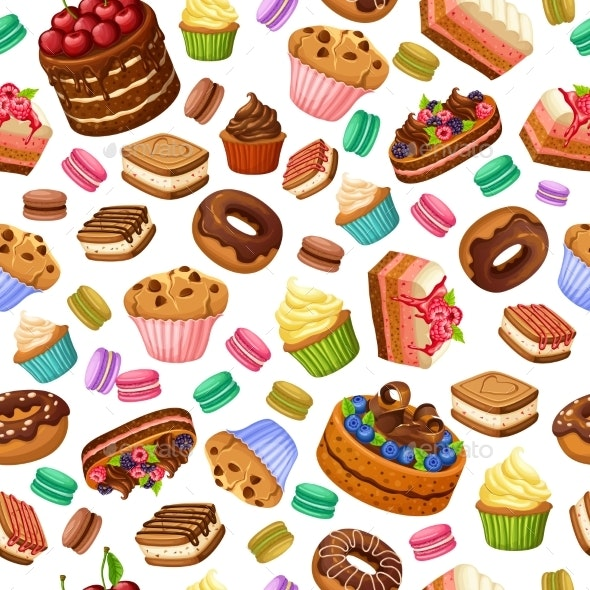 Cartoon Colorful Desserts Seamless Pattern - Food Objects