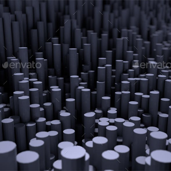 Background with Round Pillars, 3d Rendering with Depth of Field